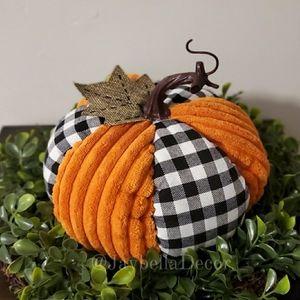 1 Farmhouse Decor Big Plaid Pumpkin Fall Halloween